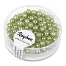 Renaissance glass wax beads, 4mm ø, jade, 85 piece