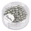 Renaissance glass wax beads, 4mm ø, antique silver