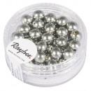 Renaissance glass wax beads, 6mm ø, antique silver