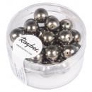 Renaissance glass wax beads, 8mm ø, taupe, 25 pcs