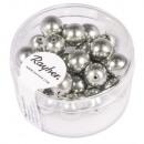 Renaissance glass wax beads, 8mm ø, antique silver