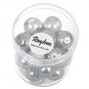 Reneszánsz üveg gyöngy, ezüstszürke, 21 db