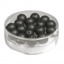 wholesale Beads & Charms: Silk bead glass bead, 8mm ø, black, 18 pieces