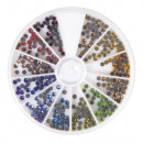 Hotfix rhinestones, 3 mm, multicolored, 360 pieces