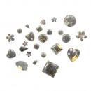 Acrylic rhinestone mix, various shapes, platinum,
