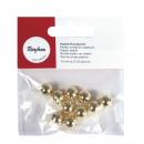 Plastic round beads, 10 mm ø, gold, 10 pieces