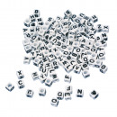 Plastic letters-pearls cubes, white, 40 g