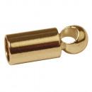 Végsapkák m. Fűzőlyuk, 2mm ø, arany, 4 db