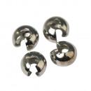 Cover beads for crimp beads, 5mm ø, platinum, 2 S