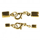 wholesale Jewelry Storage: Jewelery clasp m. Carabiner mounted, gold, 2 pcs