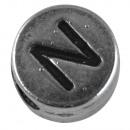 wholesale Pendant: Metal bead N, 7mm ø, silver,
