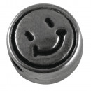 ingrosso Pendenti: Perlina di metallo Smiley , 7mm ø, argento, 5 pezz