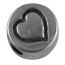 Perlina in metallo: cuore, 7mm ø, argento, 5 pezzi