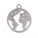 Metalen hanger wereldkaart, 18mm ø, zilver, 2 stuk