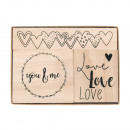 Wooden stamp set love, 3 pieces