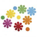 Habgumibélyegző virágok, színes, 40 db