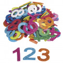Sponge Rubber Numbers Glitter, 100 pieces