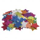 Foam Star Glitter, 2 + 3cm ø, 100 pieces