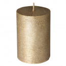 Pillar candle: frosted optics, gold,
