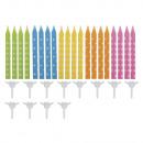 Verjaardag kaarsen m. Houder, kleur. Gesort., Gekl