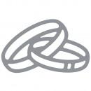 Motyw klejowy: obrączki ślubne, srebro, 1 kokarda