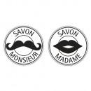 Labels Savon Monsieur+Madame , 30mm ø, 2 Stück