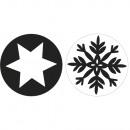 Hópehely + csillag, 30 mm ø, 2 db