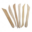 Wooden modeling tools, natural, 6 pieces