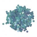 Paillettes, lisce, 6mm ø, blu iridescente, 6 g