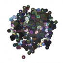 Paillettes, lisce, 6mm ø, nero iridescente, 6
