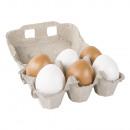 Set plastic eieren bruin / wit, 6cm ø, 6 stuks