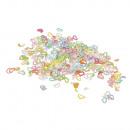 Sequin sprigs hearts, 4mm ø, multicolored, 15 g