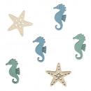 Pezzi di stella marina in MDF + cavallucci marini,