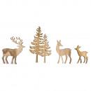Drewniane drzewo Streudeko + jeleń, 4 sztuki