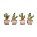 grossiste Cadeaux et papeterie: Paillettes en bois cactus, 4 pièces