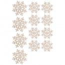 Wood sprinkles snowflakes, FSC100%, 10 pieces