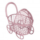 Decorative metal stroller, baby pink,