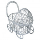 Decorative metal stroller, baby blue,