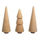 grossiste Décoration: Arbres en bois, 2, 9cm ø, naturel, 3 pièces