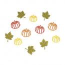 groothandel Woondecoratie: Houten strooidelen pompoenen + blaadjes, gekleurd,