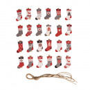 Advent calendar. Socks 1-24 with clip, colored,