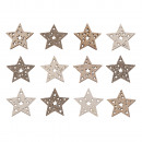Wooden scattering parts stars with glitter, 3, 5cm