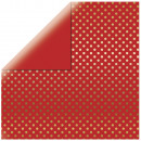 Scrapbooking Paper Gold Foil Dots, Classic Red,