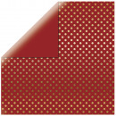 Scrapbooking Paper Gold Foil Dots, brick red,