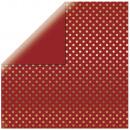 Scrapbooking Paper Gold Foil Dots, brick red,