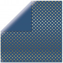 Scrapbooking Paper Gold Foil Dots, denim blue,