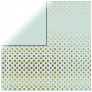 Scrapbooking Paper Gold Foil Dots, mint green,
