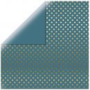 Scrapbooking Paper Gold Foil Dots, petrol,