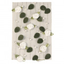 Rose garland with leaves + pearls, white, 2 m