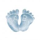 Fabric feet baby, light blue, 6 pieces